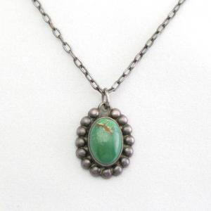 Antique Navajo Green Turquoise Small Fob Necklace  c.1935~