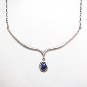 Joe H. Quintana Cochiti Cast Silver Necklace w/Lapis Lazuli
