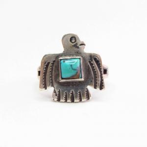 Antique Thunderbird Shape Tourist Ring w/Square TQ  c.1930