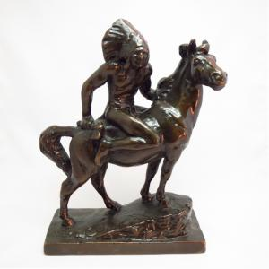Vintage  Plaster Indian Riding Horse Statue Object  c.1940~