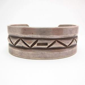 Vintage Stamp & Filed Ingot Silver Cuff Bracelet  c.1940