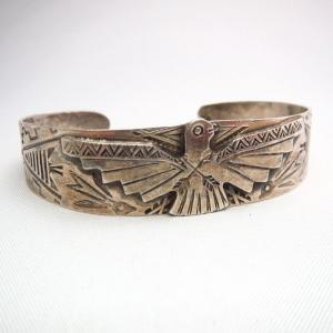 Antique Thunderbird Patch & Elk Stamp Cuff Bracelet  c.1940