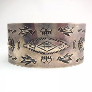 Antique Multiple Stamped Wide Cuff Bracelet c.1940