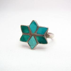 Vintage Zuni TQ Inlay Morningstar Silver Ring  c.1960