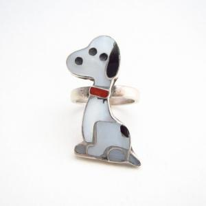 Vtg Zuni Multi-Stone Inlay 『Old Snoopy』 Silver Ring  c.1970~