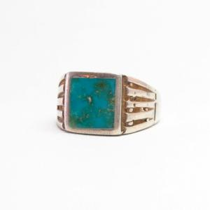 Vtg Navajo Cast Silver Ring w/Sq. Blue Gem Turquoise c.1950~