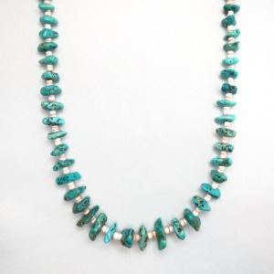 Vintage SingleStrand Nugget Turquoise Heishi Necklace c.1970