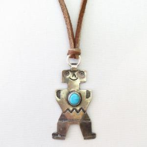 【UITA10】 Atq Navajo Human Shaped Pendant Necklace  c.1930~