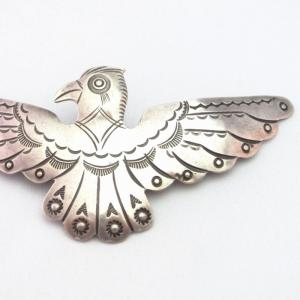 【Awa Tsireh】 Historic Big Thunderbird Coin Silver Pin c.1930