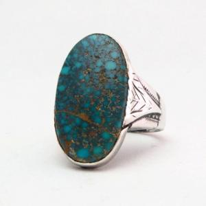 Antique High Grade Lone Mt. Turquoise Hallmarked Ring c.1940
