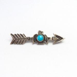 Antique Arrow & Thunderbird Silver Small Pin w/TQ  c.1935~