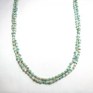 Vintage Turquoise & Shell Bead 2 Strand Heishi Necklace