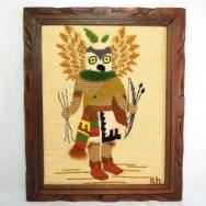 Vintage Hopi Mongwa Kachina Embroidery Wall Hangings  c.1970
