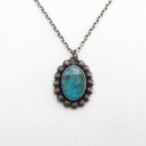 Atq Gem Quality Turquoise Small Fob Silver Necklace  c.1940~