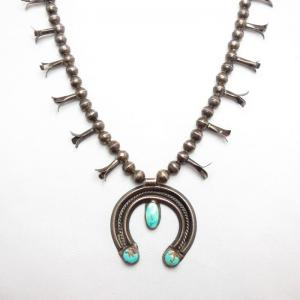 Antique Silver Squash Blossom Naja Necklace w/TQ c.1940