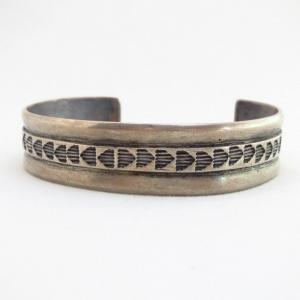 Vintage Stamp & Filed Silver Hallmarked Cuff Bracelet c.1960