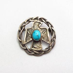 Antique Twisted Wire & Thunderbird Silver Pin w/TQ  c.1930~