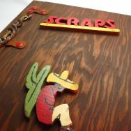Antique Mexican Wood Album Book 【Scraps】  c.1940