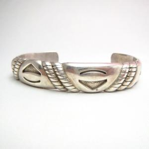 Vintage Stamp & Filed Cast Silver Cuff Bracelet  c.1950~