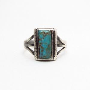 Antique Split Shank Silver Ring w/Square Turquoise  c.1930~
