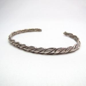Vintage Stamped Twisted Wire Narrow Cuff Bracelet  c.1930~