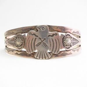 Antique Thunderbird & Arrowheads Applique Silver Cuff c.1940