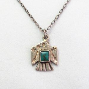 Antique 卍 Stamped Thunderbird Small Fob Necklace w/TQ c.1930