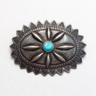 Antique Navajo Repoused Silver Concho Pin w/Turquoise c.1930