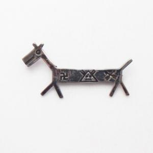 Antique 卍 Stamped Horse Shape Silver Pin Brooch  c.1930~
