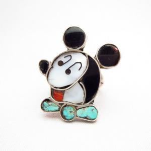 Zuni Vintage Channel Inlay Mickey Face Small Ring c.1965~