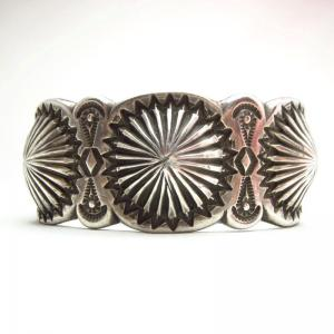 Ernie Lister Shell Repoused Silver Cuff Bracelet  c.1980