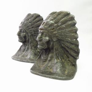 Antique Indian Chief Heads Cast Metal Bookends 1920~