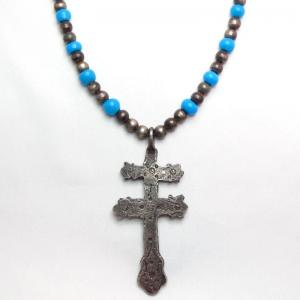 Antique Bead Necklace w/Revival Dragonfly Cross Fob  c.1960