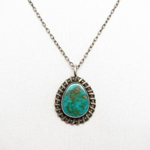 Vintage Navajo Small Blue Gem Turquoise Fob Necklace c.1950~
