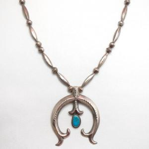 Vintage Bench Made Silver Bead Necklace w/Casted Naja c.1950