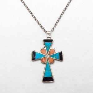 Vintage Zuni Channel Inlay Cross Fob Silver Necklace  c.1950