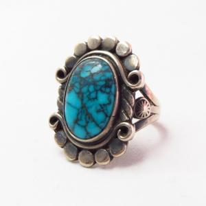 Antique Navajo High Grade Lone Mt. Turquoise Ring  c.1940~