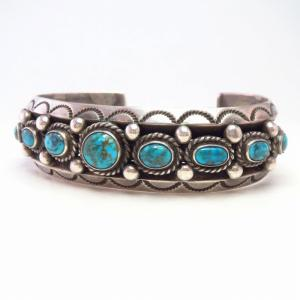 Vintage Navajo High Grade Lone Mt. Turquoise Row Cuff c.1950