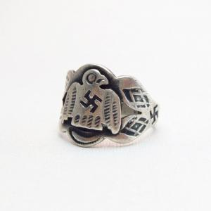 Antique 卍 Stamped Thunderbird Patch Tourist Ring  c.1930