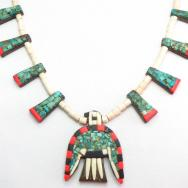 Antique Santo Domingo Big Thunderbird Necklace  c.1930~
