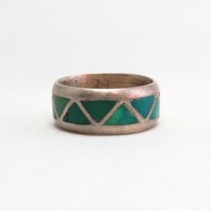 Vintage Zuni Channel Inlay Silver Ring  c.1960