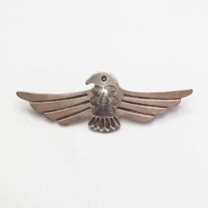 Antique Repoused & Stamped Silver Thunderbird Pin  c.1930~