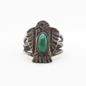 Antique Thunderbird Face Split Shank Ring w/Green TQ  c.1930