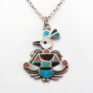 【Dan Simplicio】Zuni Antique Thunderbird Fob Necklace c.1930~