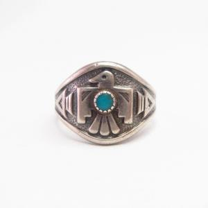 Vtg 【BELL TRADING POST】 Thunderbird Face Ring w/TQ  c.1950~