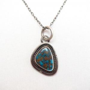 【Sunwest Silver】OLDPAWN Bisbee Turquoise Fob Necklace c.1975