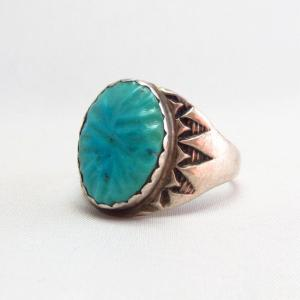 OLDPAWN Stamped Silver Ring w/Zuni Carved Turquoise  c.1980~