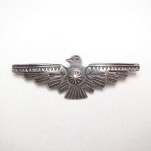 Vintage Thunderbird Shape Stamped Silver Pin Brooch  c.1940~