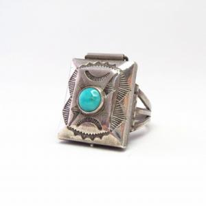 Antique Navajo Stamped Silver Pill Box Ring w/TQ  c.1930