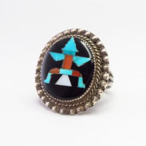 【John Gordon Leekity】Zuni Vtg Knifewing Inlay Ring  c.1940~
